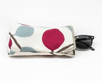 Sunglasses case - cotton canvas - Silver Frame - Ready to ship!