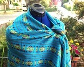 Mexican Fabric Rebozo, Aztec Cambaya scarf, Blue Tribal Shawl, Doula and Midwife Tools 3 yard