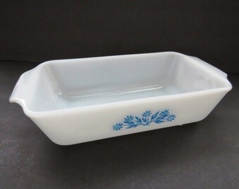 Fire King Casserole Dish - Anchor Hocking Milk Glass Baking Dish With Handles - Blue Cornflowers Pattern - 1 Quart Rectangle Loaf Pan