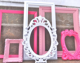 Pinks and White ORNATE Picture Frame Set Collection Baroque Large Gallery Wall