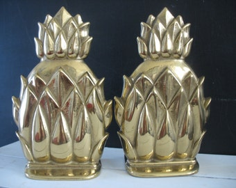 Vintage Pineapple Brass Bookends - Hollywood Regency