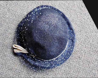 Vintage Small Straw Hat Cream Ribbon Polka Net Mrs. Lynch, Baltimore Excellent - S