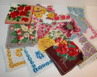 13 Vintage Hankies Vivid Bright Colors Flowers Thirteen Handkerchiefs Beautiful & Unique Lot