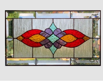 Victorian beveled stained glass panel window Red amber purple teal stained glass window panel window hanging  0163 19 1/4 x 11 1/4