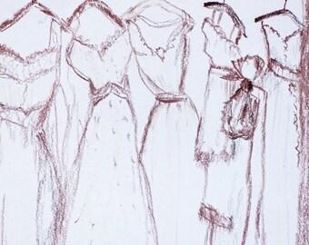 CLEARANCE SALE  Original drawing Dresses hanging original sketch wall art pencils original artwork dreses in a row  fashion illustration