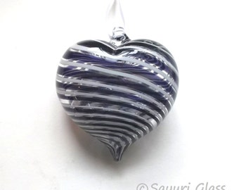 Purple & White Stripe Heart Ornament : DISASTER RELIEF