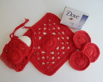 Spa Bath Set - Cotton Drawstring Soap Saver, Face Pads & Washcloth - Red