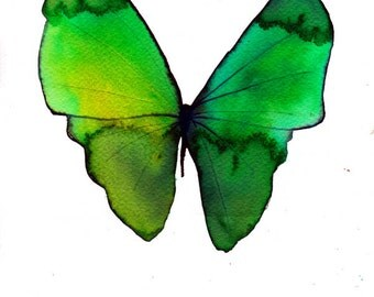 "spring green butterfly  8 X 10"" original watercolour painting"