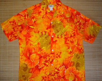 Mens Vintage 60's Hukilau Rockabilly Neon Hawaiian Aloha Shirt - L - The Hana Shirt Co