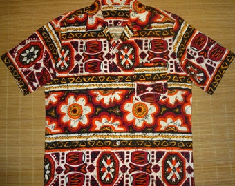 Mens Vintage 70s Tribal Tiki Hawaiian Aloha Shirt - L - The Hana Shirt Co