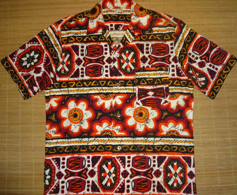 Mens vintage 70s tribal tiki hawaiian aloha shirt l for The hawaiian shirt company