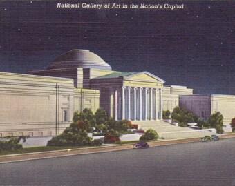 Washington D.C., National Gallery of Art, Night - Linen Postcard - Unused (QQ)