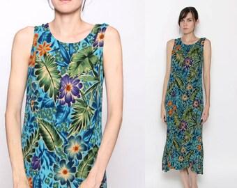Vintage 90s Tropical Floral Island Summer Beach Maxi Dress