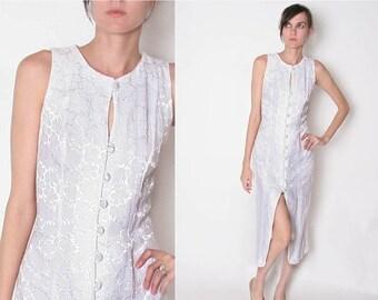 ON SALE Vintage White Dress / floral / High Slit