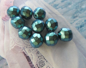 Czech Polynesian Teal Faceted 12mm Glass beads 10 Pcs. Low Gloss