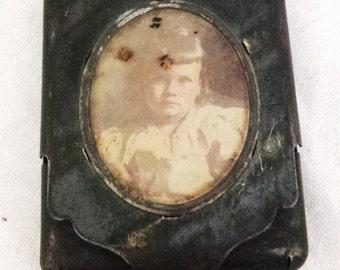 Antique Match Safe Striker Vesta Tin With LITTLE GIRL PHOTO