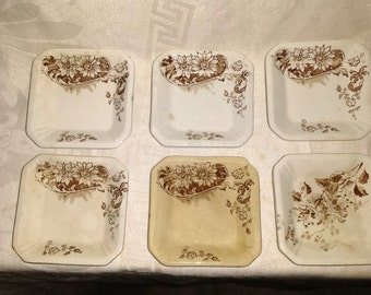 Antique Aesthetic Movement Brown Transferware Butter Pats (6)
