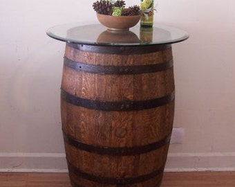 "Whiskey Barrel Table c/30"" Glass Top-Wrought Iron Stand-FREE SHIPPING"