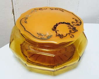 Vintage Art Deco Vanity Jar/Trinket Glass & Celluloid Jar