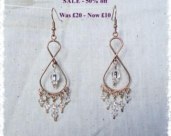 SALE - Tear Drop Dangle Earrings - Swarovski & Czech Glass - White