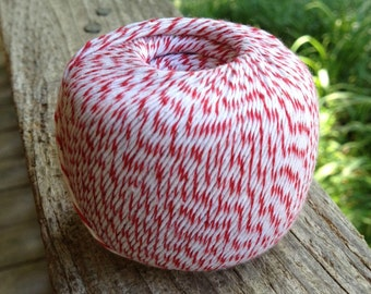 280 Yards - Red + White 4-Ply  Baker's  Twine / String • 100% Cotton • Eco Friendly • Bakery Twine  • Bakery String  • Inexpensive
