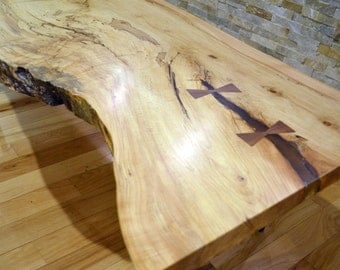 maple slab and steel coffee table