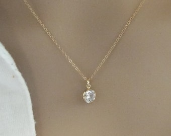 Gold Fill CZ Necklace 6mm 14k Gold Filled Simple dainty charm clear diamond stone minimal thin everyday jewelry GREAT GIFT