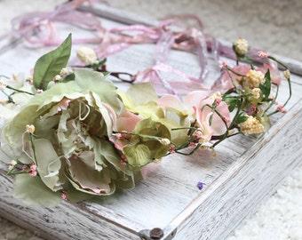 sea foam flower wreath,sage green floral crown,tie back