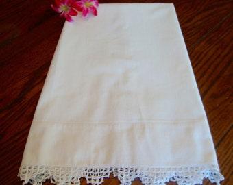 White Crochet Pillowcase Single Vintage Pillowcase Crocheted Trim Antique Bedding