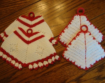 Pot Holder Set Four Vintage Knit and Crocheted Pot Holders Red and White
