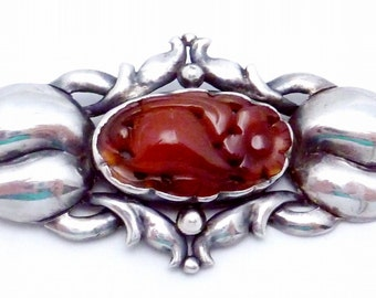 Vintage Sterling Silver Carved Pear Flower Chinese Carnelian Art Deco Pin 22543