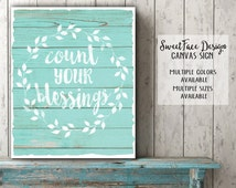 Count Your Blessings canvas sign, farmhouse decor, shabby chic, distressed barn wood , wall art