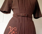 40's Brown Gaberdine Dress w/ Embroidery / Monogram
