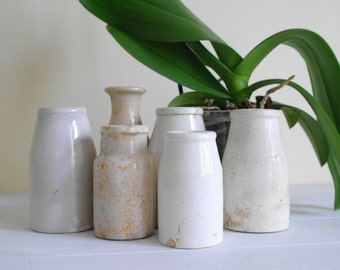 Vintage Stoneware Bottle Set in Neutral Tones - White Pottery Bottles