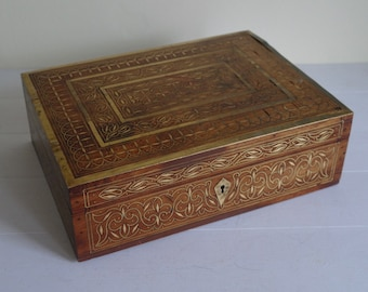 Large Wooden Trinket Box with Brass Inlay, Wooden Box, Trinket Box.