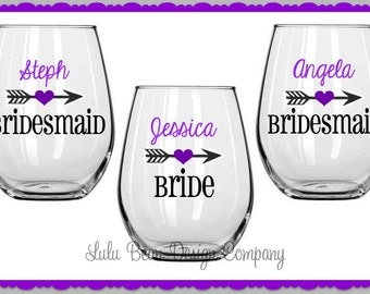 1 Heart Arrow Bridesmaid Stemless Wine Glasses Personalized Wedding