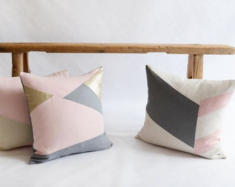 Blush Pink Pillow/Rose Quartz/Champagne/Grey/Zen/Pillow Cover/Triangle/Custom/Handmade/Eclectic/ZigZag Studio Design
