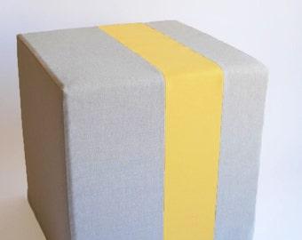 Grey Pouf/Floor Pouf/Ottoman/Stripe Pouf/Yellow Stripe/Urban/Minimalistic/ Modern/Floor Pouf/Foot Stool/Nursery Pouf/ Zigzag Studio Design