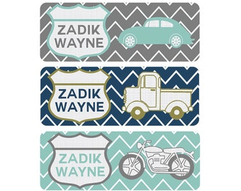 School Labels, School Name Labels, Waterproof School Labels, Personalized School Labels, School Labels, Boy, Vintage Cars