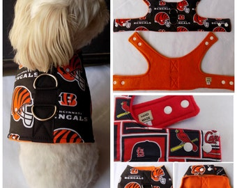 Dog Vest Harness Cincinnati Bengals print Dog Vest Harness  for Small Breed Dogs or Cats