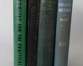 vintage textbooks, mathematics, Algebra, Geometry, Analytical Mechanics, 1940's, from Diz Has Neat Stuff