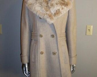 NOS Vintage Tweed Wool Coat with Large Fur Collar