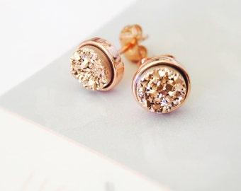 Rose Druzy Round Stud Earrings in Rose