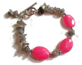 Pink and Gray Bracelet - Jade & Labradorite Jewellery - Sterling Silver Jewelry - Gemstone - Mod - Beaded - Fashion