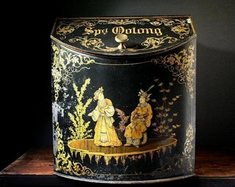 Antique Toleware chinoiserie tea bin, large tea tin, general store tea box.