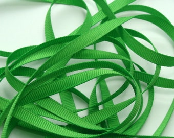 "1/4"" Grosgrain Ribbon -   Apple Green - 10 yards"