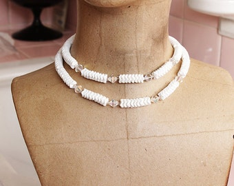 Vintage 1950's 2 Strand White Glass Bead Necklace