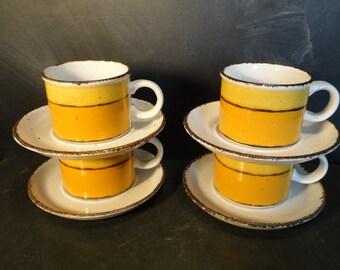 Midwinter Stonehenge Sun Stoneware Set of Four Tea Coffee Cups Mugs Saucers