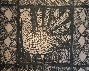 Vintage Fabric Textile Panel Viola Gråsten Mölnlycke Handprinted Sweden Mid Century Modern