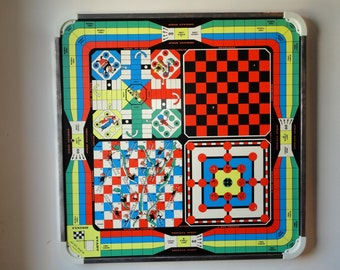 Large Vintage Two Sided Game Board-Checkers-Crokinole-Wall Hanging-Display-Lithograph-Playing Pieces